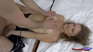 Skinny granny titfuck and rides his cock wearing sexy stockings
