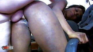 Petite Black slut hard anal fucking and squirting