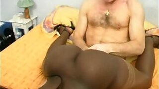 French Black Girl with a bubble butt double penetration interracial
