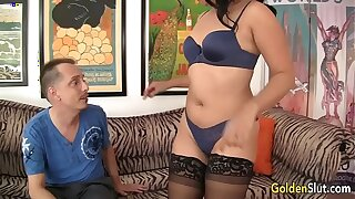 Old asian woman Lucky Star fucked by white boy