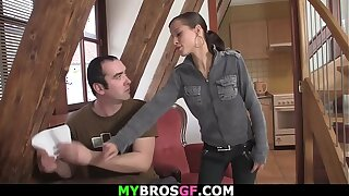 Petite brothers gf getting banged on the table