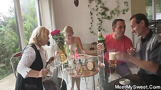 Old family threesome orgy at her birthday