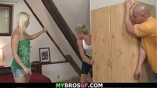 Cute blonde girl and friend cheats him