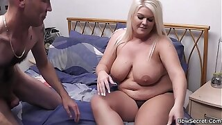 He licks then doggy-fucks her fat pussy