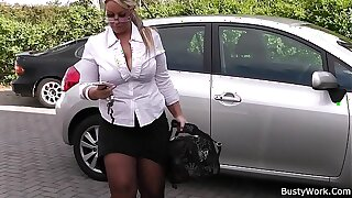 Big tits woman pleases her client at work