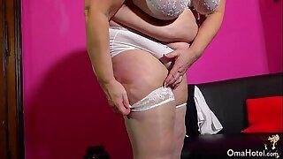 OmaHotel Slim granny masturbates and fat granny posing