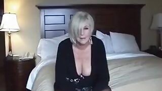 Sexy grandmother pulls cock