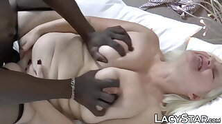Wild British grandma wrestles with BBC and cums from it too