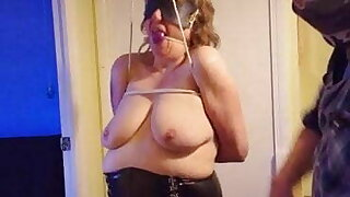 Ballgagged and blindfolded tied granny has tots well slapped