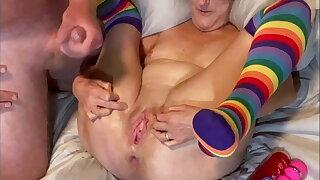 POV Mature Slut Gapes Pussy Wide Open, Big Dick Stepdad Cums