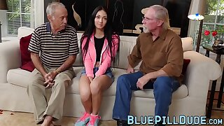 Petite teen with big tits pounded hard and fast by old guy
