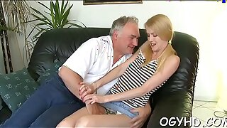 Hot young honey screwed by old guy
