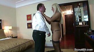 German old Man Fuck Hot Teen Hooker in Stockings for Money