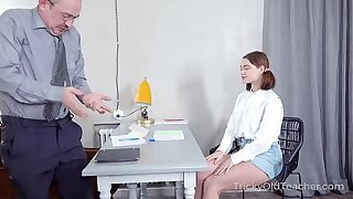 Tricky Old Teacher - Babe rewards old teacher with a crazy fuck action