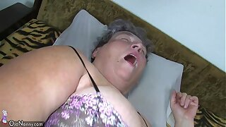Old chubby mom teaches her chubby y. woman masturbating use dildo