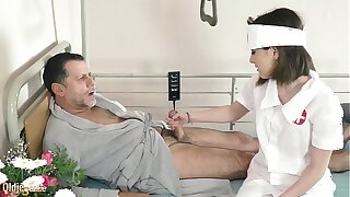 Teen nurses fuck old grandpa in a fake hospital bed and give sloppy blowjob